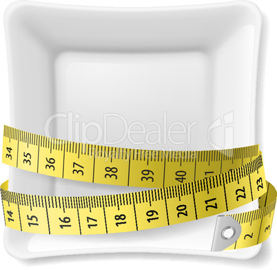 Plate and  tape measure