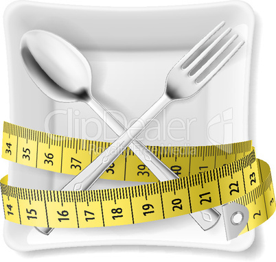 Plate with flatware and tape measure