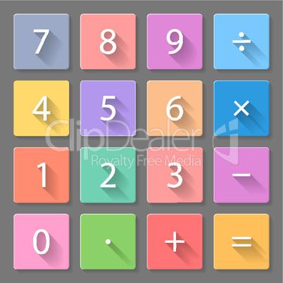 Set of calculator flat icons