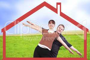 man and woman stretching in anticipation of their new home on the arms