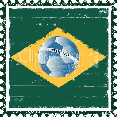 Brazil flag like stamp in grunge style