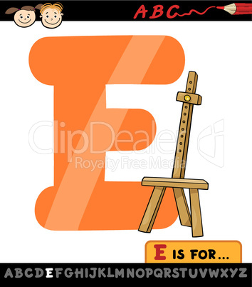 letter e with easel cartoon illustration