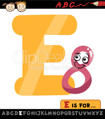 letter e with eight cartoon illustration