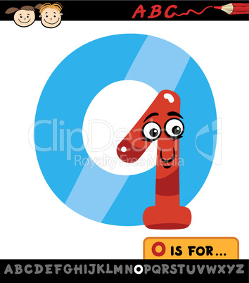 letter o with one cartoon illustration