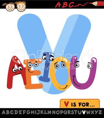 letter v with vowels cartoon illustration