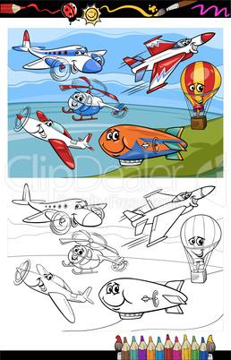 planes and aircraft cartoon coloring book
