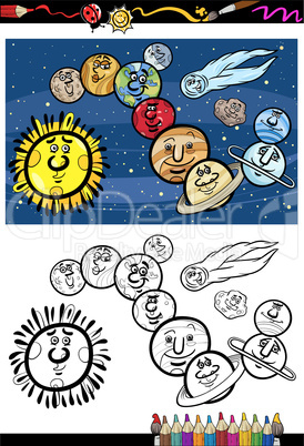solar system cartoon coloring book