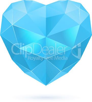 Blue polygon heart