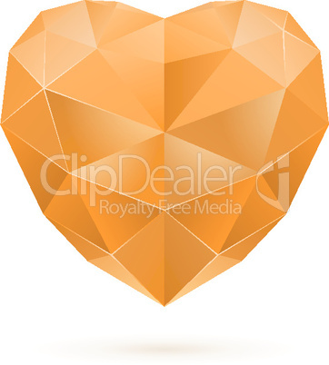 Orange polygon heart
