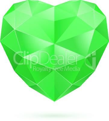 Green polygon heart