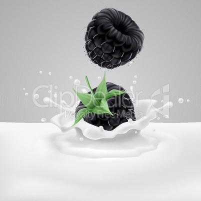 Blackberries with milk