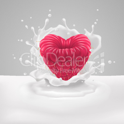 Raspberry heart with milk
