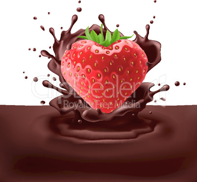 Strawberry heart with chocolate