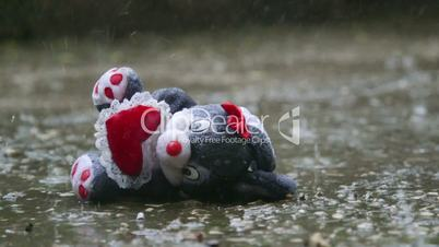 Romantic stuffed toy lost in the rain