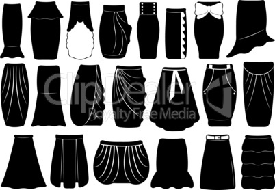 Set of different skirts