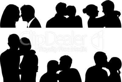 Set of couple in different positions