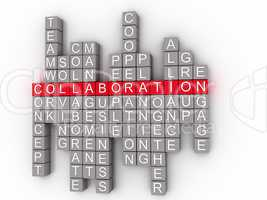 Collaboration Word Cloud Concept on a 3D