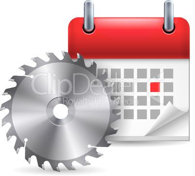 Circular saw and calendar