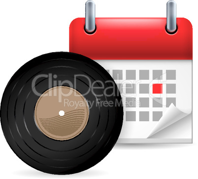 Vynil disc and calendar
