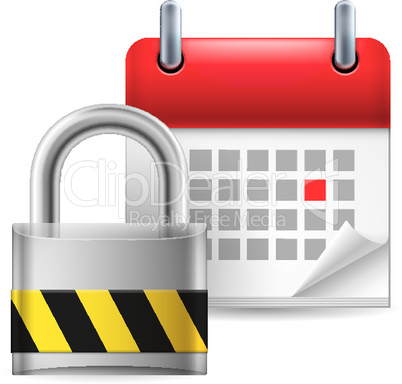 Security padlock and calendar