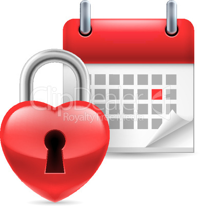 Heart lock and calendar