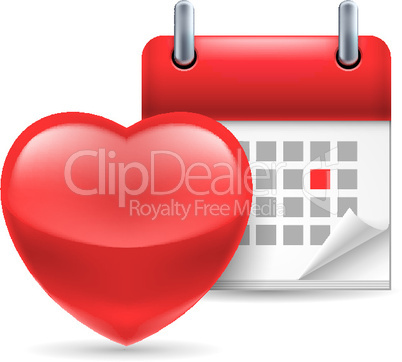 Red heart and calendar