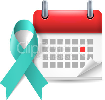 Teal awareness ribbon and calendar