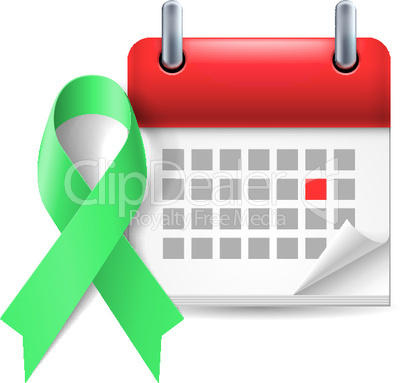 Green awareness ribbon and calendar