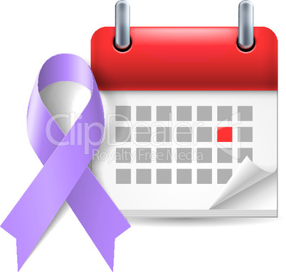 Violet awareness ribbon and calendar