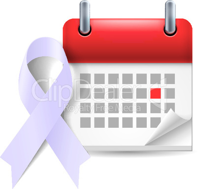 Lavender awareness ribbon and calendar