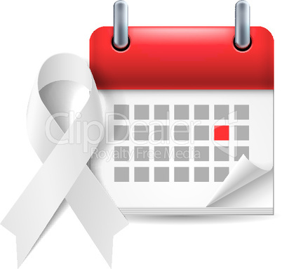 White awareness ribbon and calendar