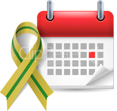 Olive-green awareness ribbon and calendar