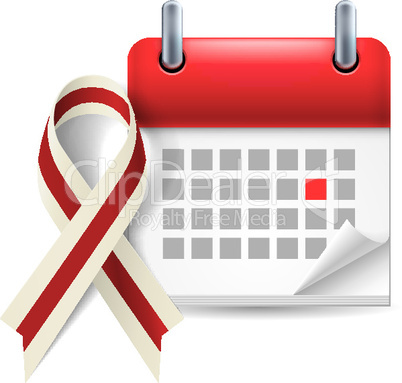 Burgundy and ivory awareness ribbon and calendar