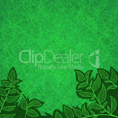 abstract background with green leaves and scratch