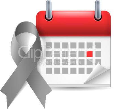 Gray awareness ribbon and calendar