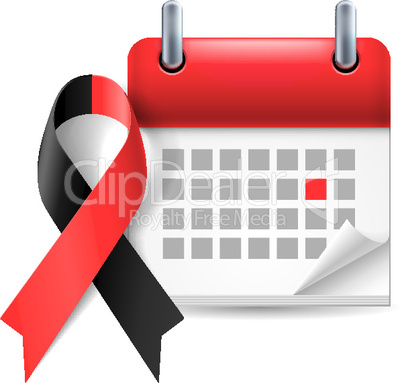 Red and black awareness ribbon and calendar