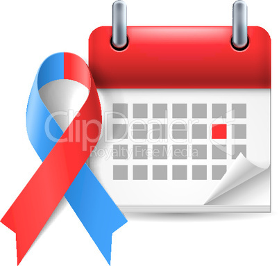 Red and blue awareness ribbon and calendar