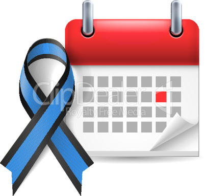 Blue and black awareness ribbon and calendar
