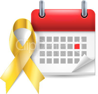 Gold awareness ribbon and calendar