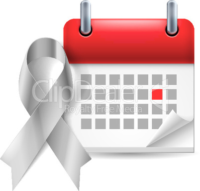 Silver awareness ribbon and calendar