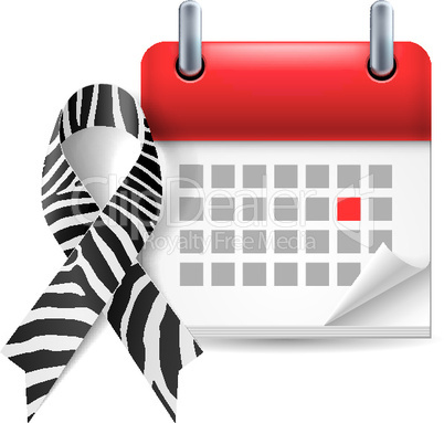 Zebra-print awareness ribbon and calendar