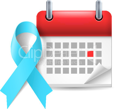 Light blue awareness ribbon and calendar