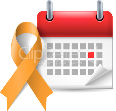 Orange awareness ribbon and calendar