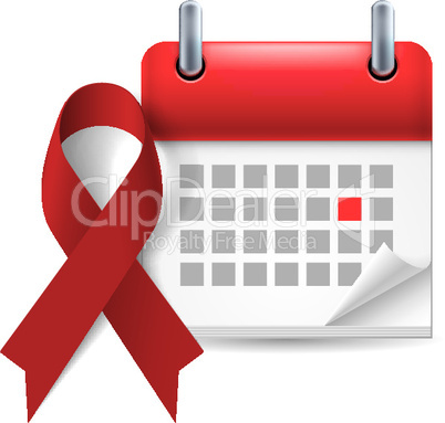Burgundy awareness ribbon and calendar