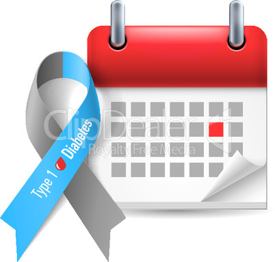 Diabetes awareness ribbon and calendar