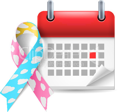 Cloud awareness ribbon and calendar
