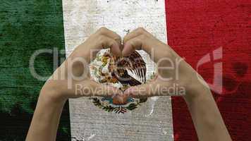 Hands Heart Symbol Mexico Flag