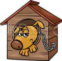 sad dog in kennel cartoon illustration