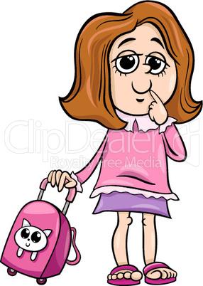 girl grade student cartoon illustration