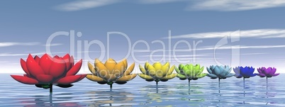 Chakra lily flowers - 3D render